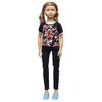 Большая ходячая кукла классическая, 100 см, в черном костюме и со светлыми волосами (sum950065)