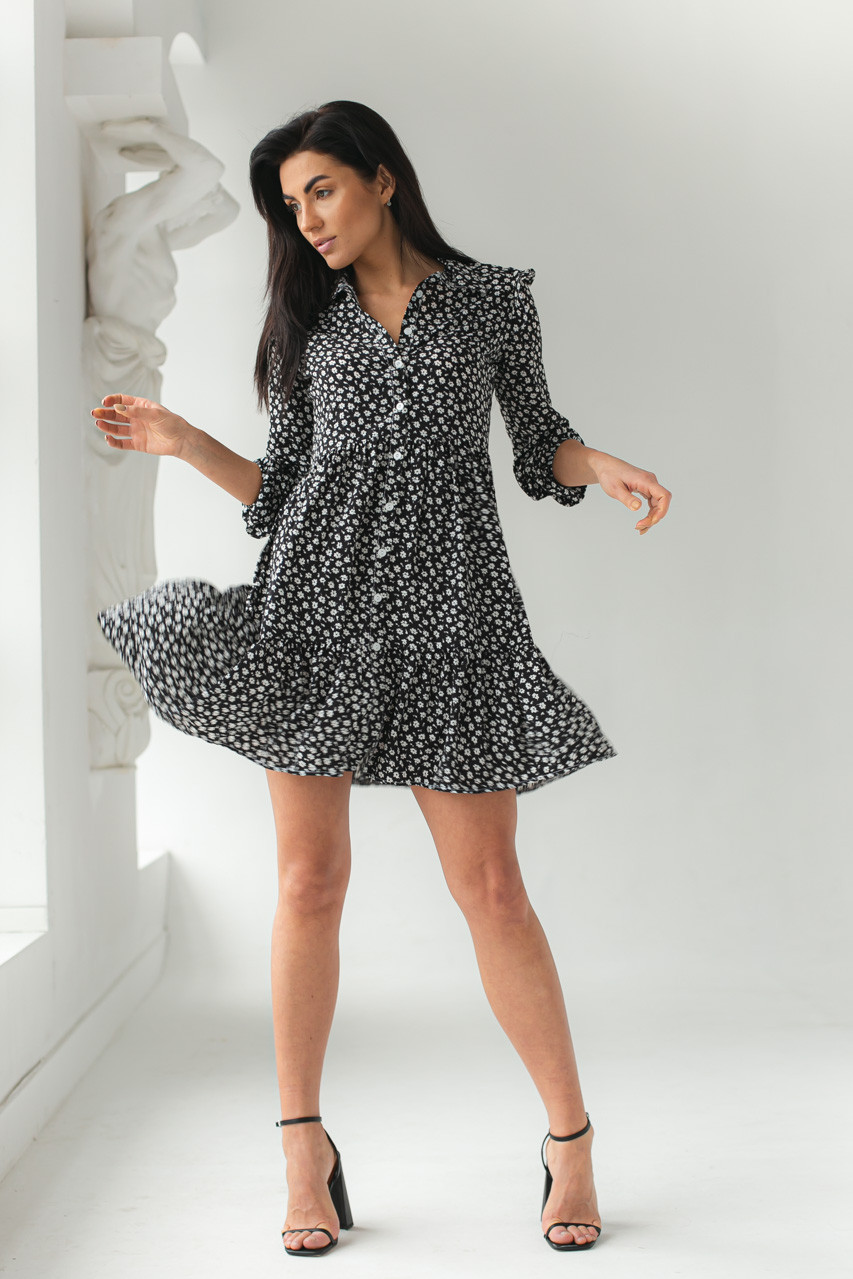 Платье на пуговицах с цветочным принтом GULSELI - черный цвет, 42р (есть размеры)