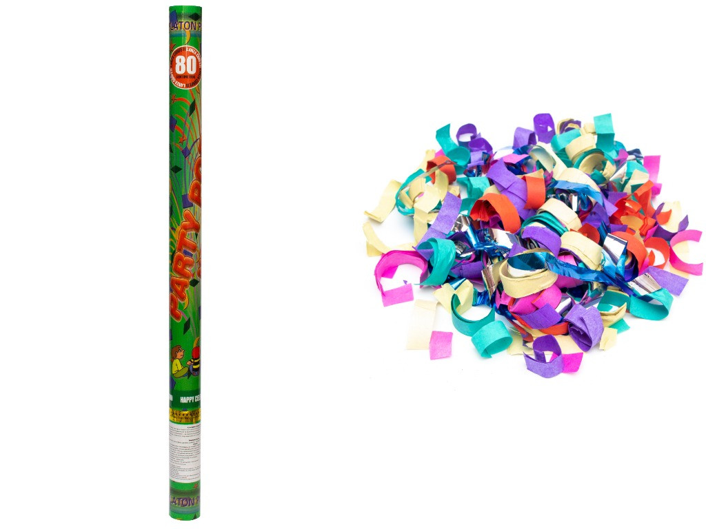 Хлопушка пневматическая, 80 см, разноцветные фигурки из фольги и бумаги (400294)