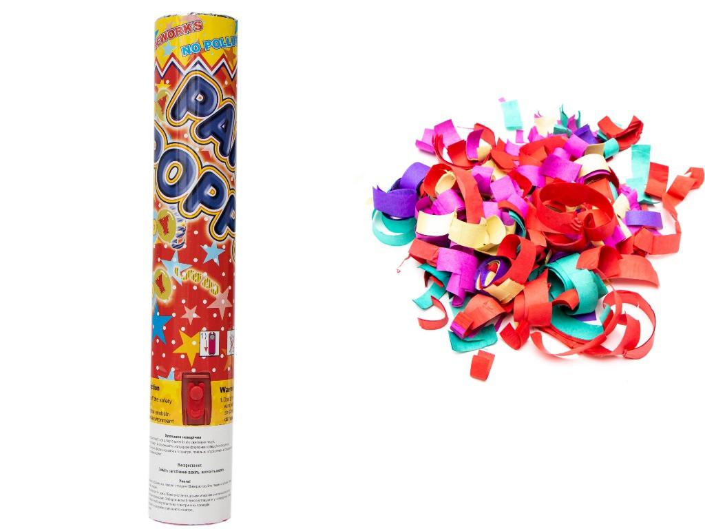Хлопушка пневматическая, 30 см, разноцветные полоски из бумаги (400317)