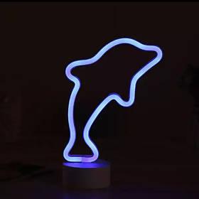 Неоновый светильник Дельфин на подставке, ночник 17,5*10*27,7 см, синий, батарейки/USB провод (140632)