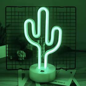 Неоновый светильник, Кактус на подставке, ночник, 14*10*27 см, зеленый свет, 3AA и USB-провод (140656)
