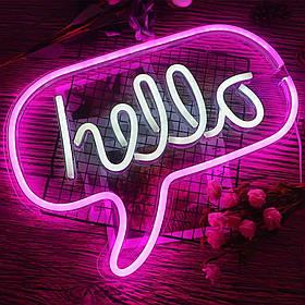 """Неоновый светильник настенно-потолочный ночник- Надпись """"HELLO"""", 43*31 см, 3 AA (141417)"""