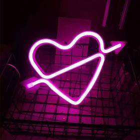 Неоновый светильник настенно-потолочный ночник - Сердце со стрелой, розовый, 25*15 см, 3AA батарейки (140670)