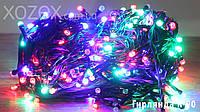 LED гирлянда 500 ламп RGB чёрный провод №90