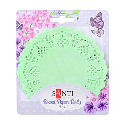 Набор салфеток ажурных круглых, цвет светло-зеленый, диаметр 9 см, 12 шт.