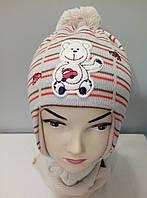Комплект вязаный шапка шарф осень весна мальчик.