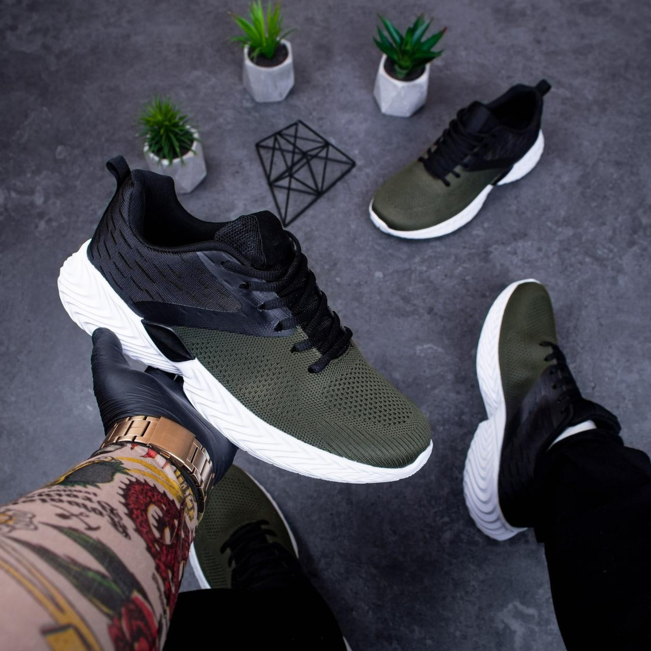 Мужские кроссовки Ривал Пикок (хаки-черные)41-45