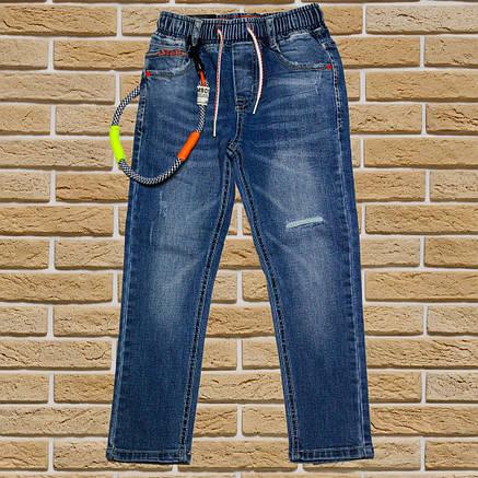 Модные стильные синие джинсы для мальчика 134-140 рост, фото 2