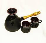 Набір кавовий (турка велика чорна з двома горнятками), фото 2