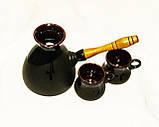 Набір кавовий (турка велика чорна з двома горнятками), фото 3