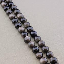 Нитка из натурального камня Обсидіан 39 див. 11,5 мм (Без замка)