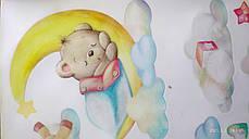 """Вінілові наклейки на стіну, шафа в дитячу """"звірята на місяць у хмарах"""" 70см*100см (лист 50*70см), фото 3"""