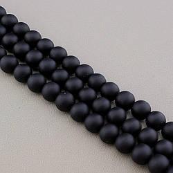 Нитка из натурального камня Шунгіт 37 див. 12 мм. (Без замка)