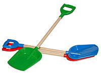 Детская лопата с деревянной ручкой (65 см.) для игры со снегом, в песочнице,  на даче или в саду.