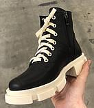 Dr. Martens 33 ! Женские демисезонные кожаные ботинки на шнуровке с толстой массивной светлой подошвой, фото 2