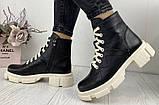 Dr. Martens 33 ! Женские демисезонные кожаные ботинки на шнуровке с толстой массивной светлой подошвой, фото 5