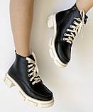 Dr. Martens 33 ! Женские демисезонные кожаные ботинки на шнуровке с толстой массивной светлой подошвой, фото 6