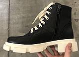 Dr. Martens 33 ! Женские демисезонные кожаные ботинки на шнуровке с толстой массивной светлой подошвой, фото 7