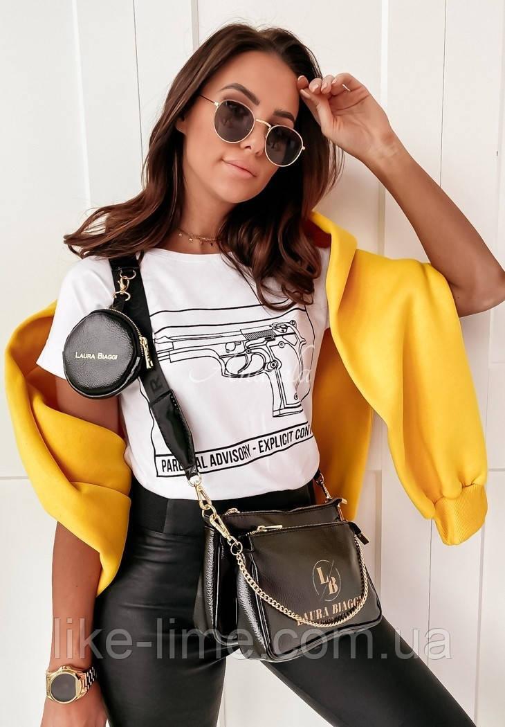 Женская  футболка Пистолет