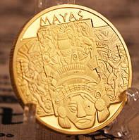 Позолоченная сувенирная монета ''Календарь Майя'' 2021