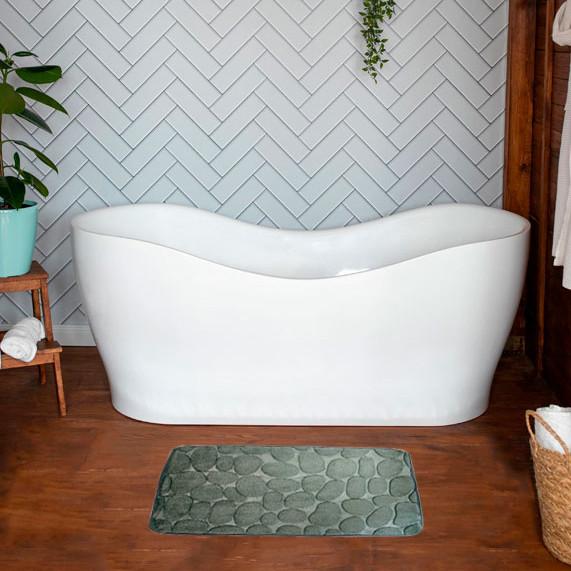 Мягкий коврик для ванной комнаты, серый 39х59 см, впитывающий в ванную комнату (душевую) (GK)