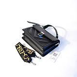 Черная маленькая женская сумка портфель кросс-боди мини через плечо 695, фото 5