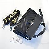 Черная маленькая женская сумка портфель кросс-боди мини через плечо 695, фото 7