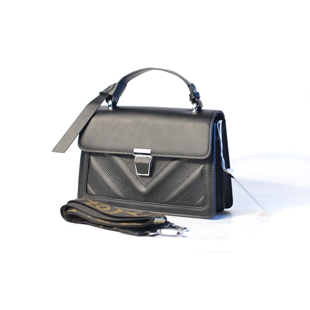 Черная маленькая женская сумка портфель кросс-боди мини через плечо 695