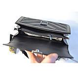 Черная маленькая женская сумка портфель кросс-боди мини через плечо 695, фото 8