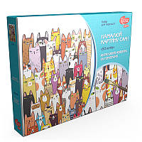 Набор техники акриловой живописи по номерам 50 котов РОСА N0001312