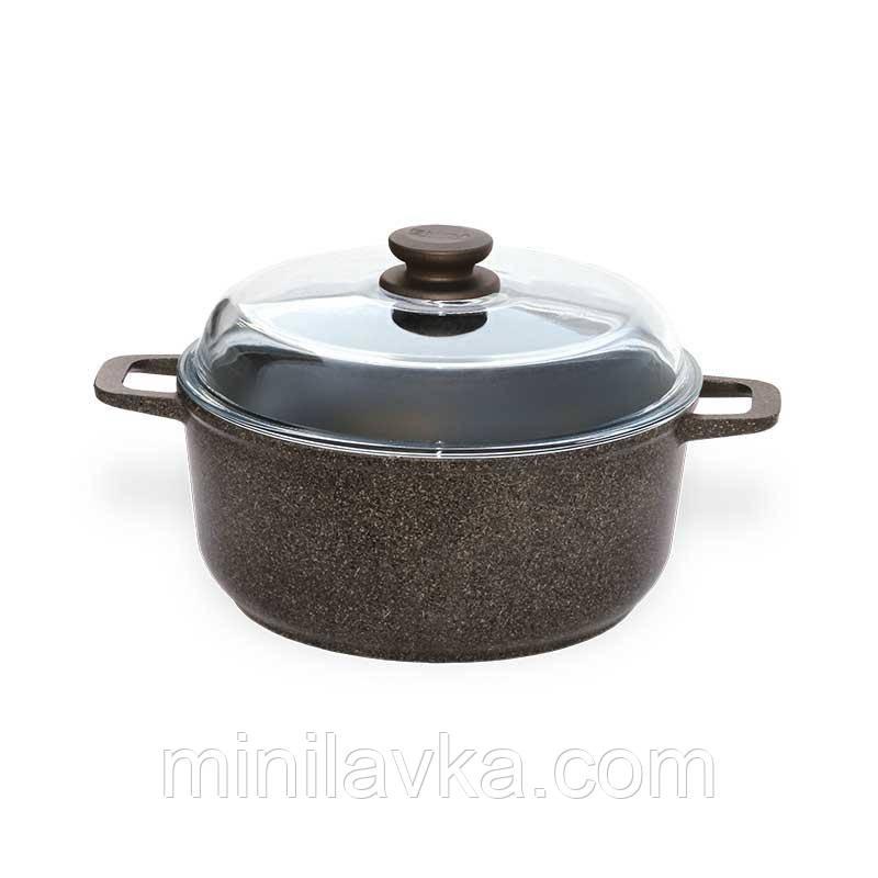 Кастрюля Granite Brown с крышкой, индукция 4 л БИОЛ K403IC