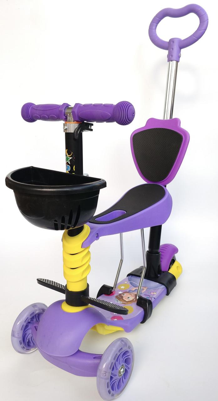 Самокат 5 в 1 Scooter Дисней,  Самокат с сиденьем  и родительской ручкой Самокат-беговел - Фиолетовый