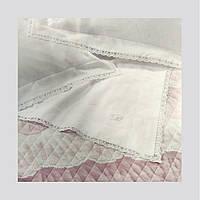 Комплект постельного белья Blumarine Babette 270x290 см Бежевый с полосой макраме и логотипом из кристаллов