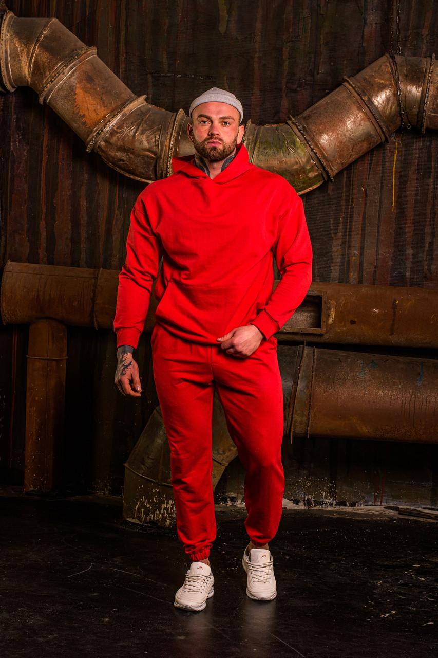 Мужской весенний спортивный костюм OverSize (red), красный спортивный костюм ОверСайз