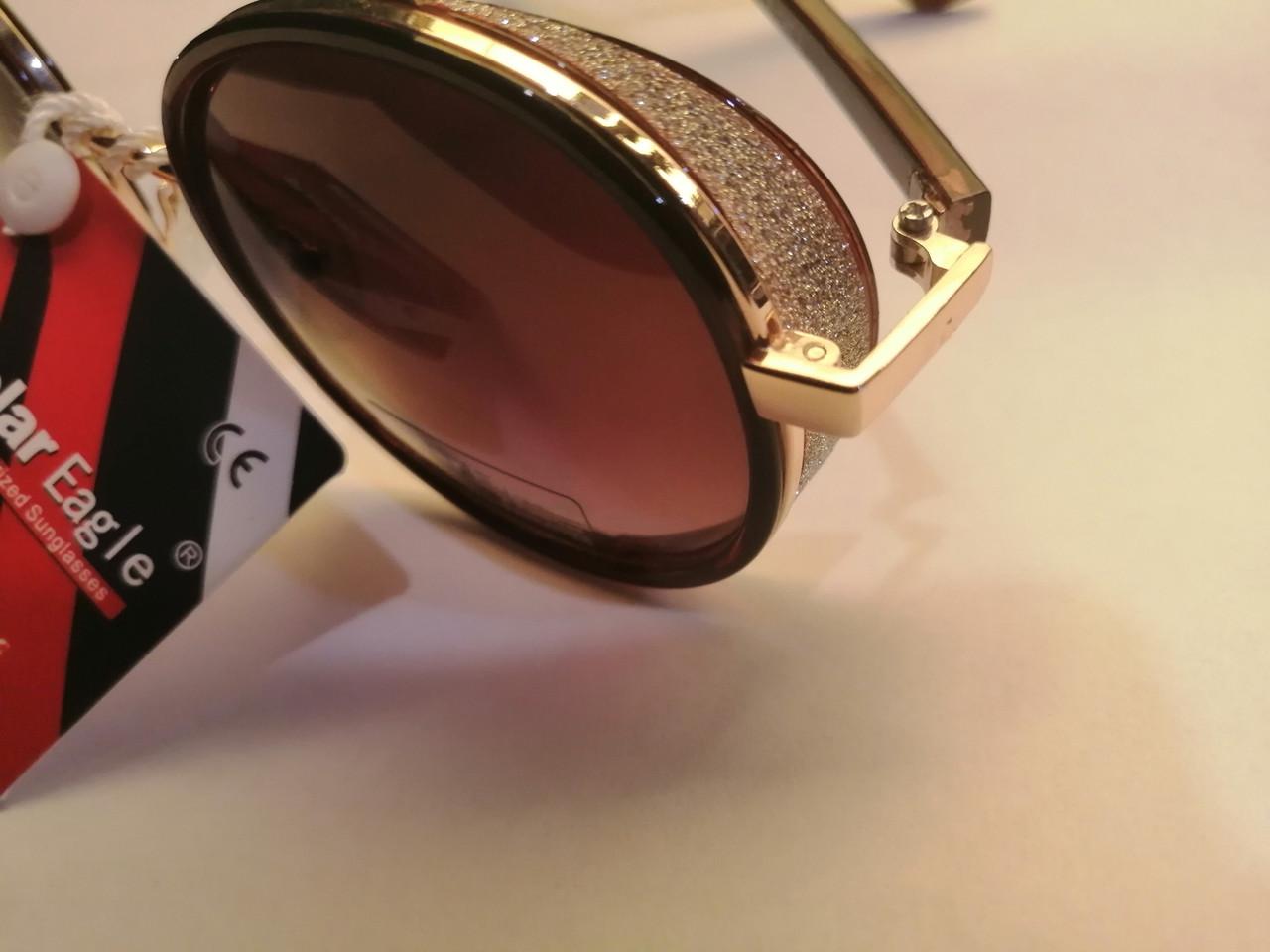 Брендовые солнцезащитные, полароидные, женские очки, с боковинками, коричневая линза