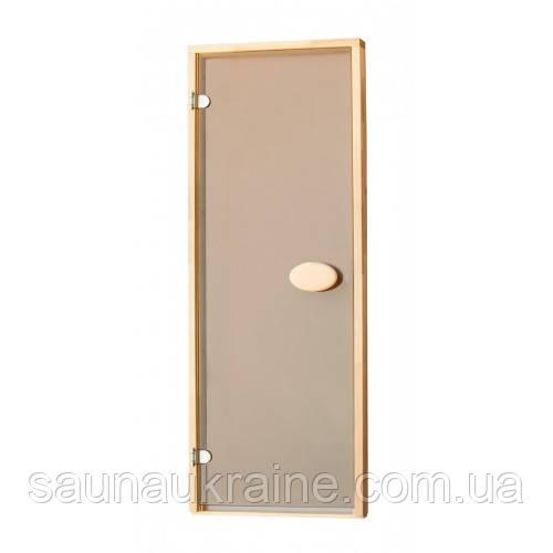 Стеклянная дверь для бани и сауны матовая бронза 70/190 липа