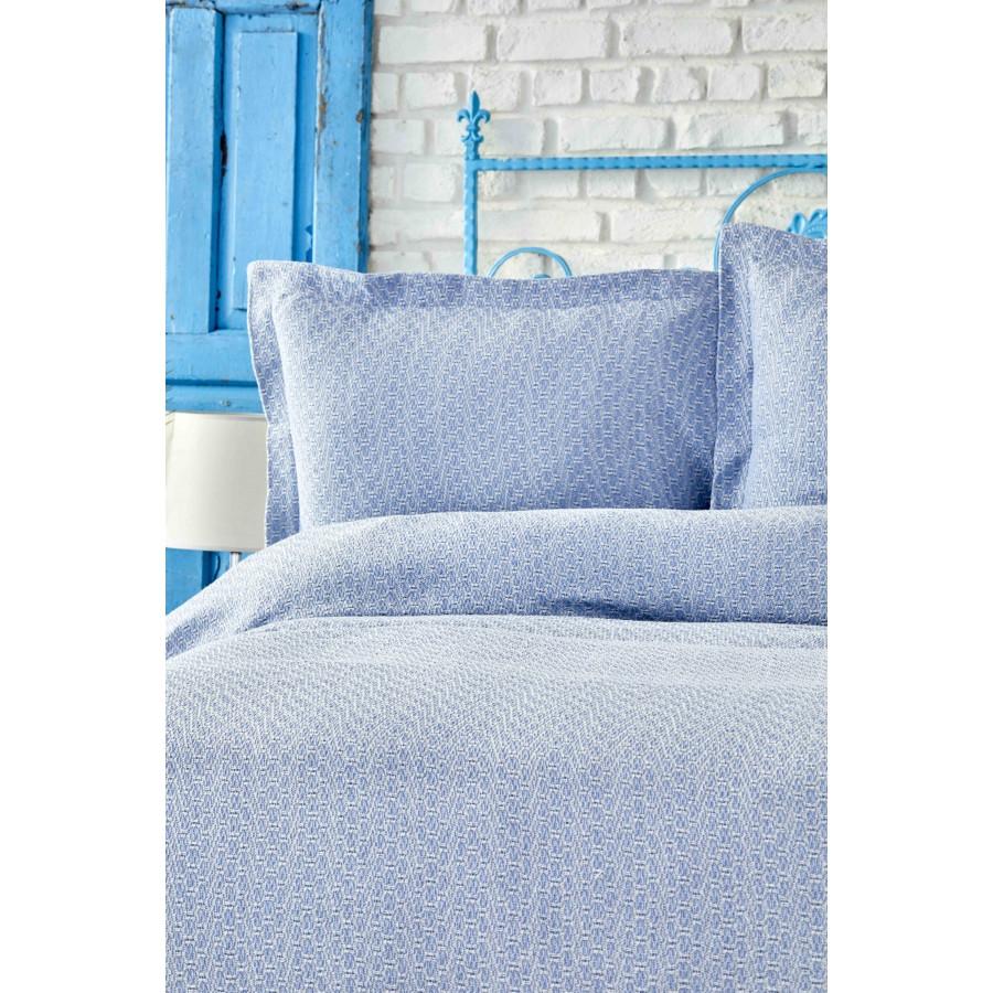 Покривало з наволочками Karaca Home - Stella a.mavi світло-блакитний 230*240 євро