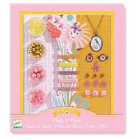 Набор для творчества DJECO Цветы и жемчуг (DJ09801) кольоровий папір, Набор наклейок, дитяча творчіст