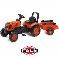 Трактор педальный детский Falk 2065AB Kubota с прицепом