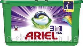 Ariel Pods Color 3 в 1 капсулы для стирки цветного белья 38 шт