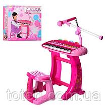 Детский синтезатор пианино 36 клавиш HK-8020C-2 , со стульчиком, микрофон, свет, запись, 8 инструментов
