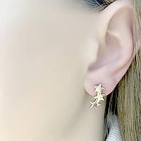Серебряные серьги гвоздики Звезды без камней - серьги гвоздики закрутки из серебра 925 пробы Италия
