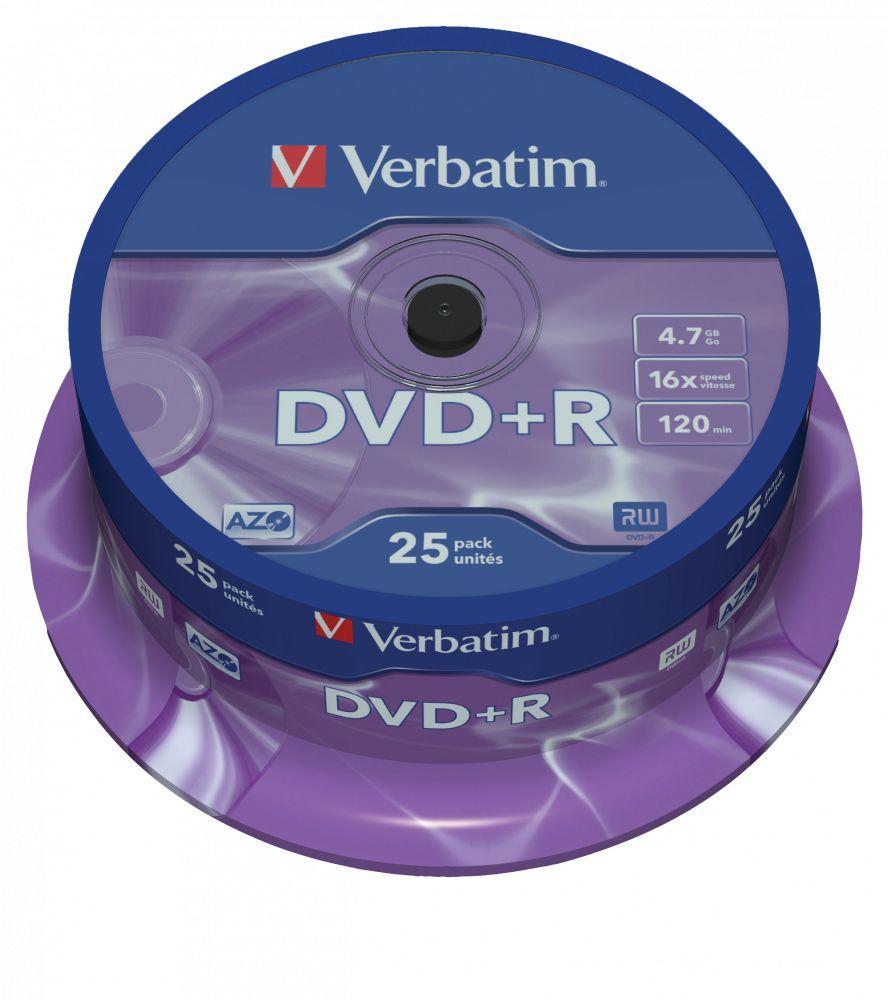 Чистий Диск Болванка DVD+R Verbatim (43500) 4.7GB 16X Matt Silver 25 шт. Spindle