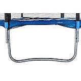 Батут диаметром 312 см оснащен 60 оцинкованными пружинами с сеткой и нагрузкой до 120 кг синий + лестница, фото 5