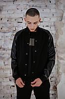 Бомбер мужской кожа Весенний / Осенний Re-Balance Intruder черный осенняя куртка