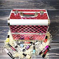 Бьюти кейс для косметики, маникюра, визажиста (розовый (крупный ромб))