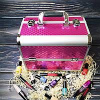 Бьюти кейс для косметики, маникюра, визажиста (розовый (мелкий ромб))