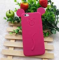 Силіконовий чохол Міккі Маус на Iphone 5/5S малиновий, фото 1