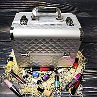 Чемодан для косметики, маникюра, визажистов (серебристый (крупный ромб))